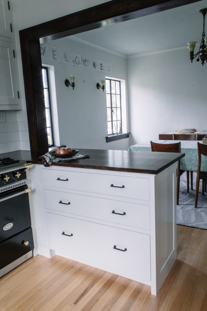 Kitchen view of counter and drawers